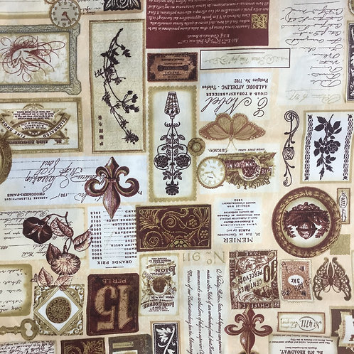 Hoffman Orleans Cream Postcards K7135 Quilt Fabric