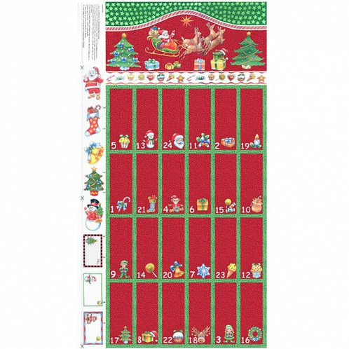 "Nutex Santa & Reindeer Red Advent Calendar 60cm / 24"" pa"