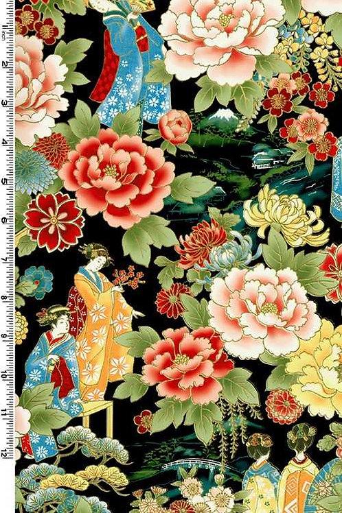 Kona Bay Geisha Dynasty GEIS-17BLA Quilt Fabric