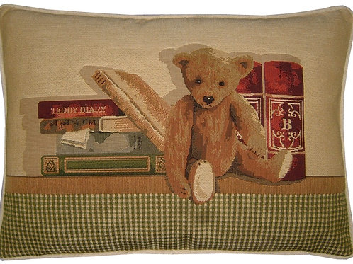 Teddy Bear Diary Bookshelf Tapestry Oblong Cushion Cover