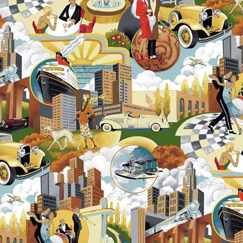 Makower Gatsby Scenic Novelty Quilt Fabric