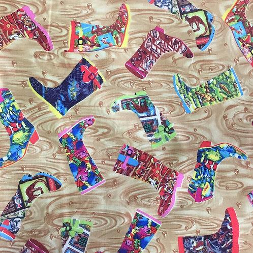 Nutex Australiana Gumboots Cream Quilt Fabric