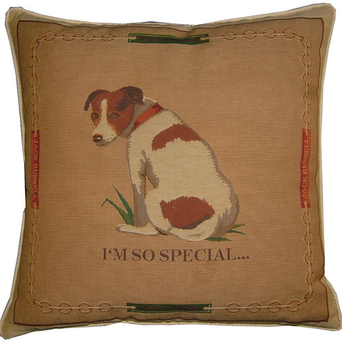 Jack Russell Sitting 'I'm So Special' Tapestry Cushion Cover