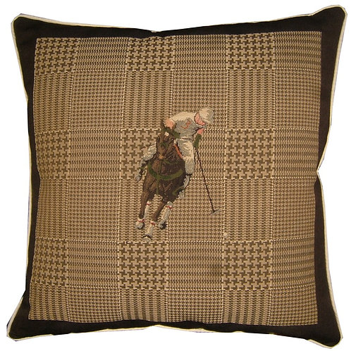 Polo Player White Horse Tapestry Cushion Cover