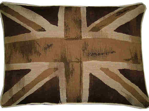 Union Jack Brown & Beige Flag Tapestry Oblong Cushion Cover