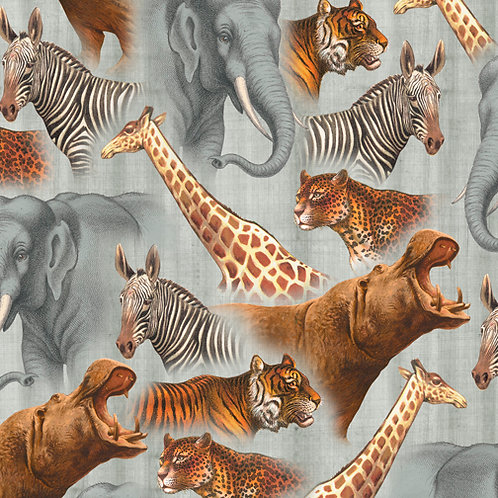Safari Animals Grey Out of Africa Quilting Treasures Quilt Fabric