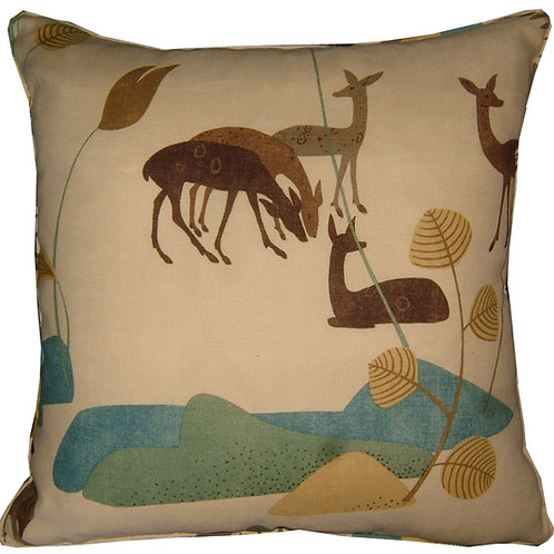 G P & J Baker 'Deer' Beige Colourway Linen Cushion Covers