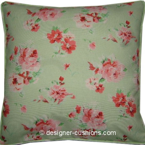 Shabby Chic Mint Green Floral and Polka Dot Cotton Duck Cushion Cover