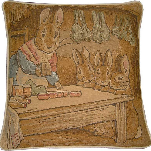 Beatrix Potter Bunnies Lunchtime Tapestry Cushion Cover