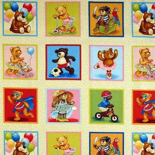 "Makower Teddies Teddy Bears Card Making Label Quilt Fabric 30cm / 12"""