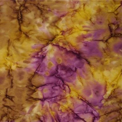 Mirah Zriya Aqua Flowers Batik Ocre Dore P/AQ-10-5634 Quilt Fabric