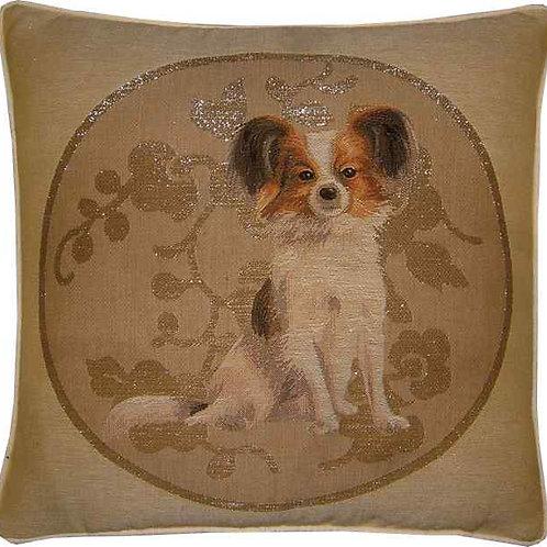 Papillon Chihuahua Silver Circle Tapestry Cushion Cover