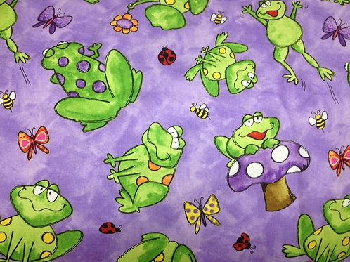 Tara's Brights Purple Frogs Quilt Fabric