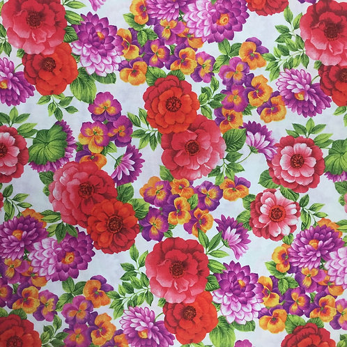 In Bloom Red Petals 23849-8 Quilt Fabric - Nutex