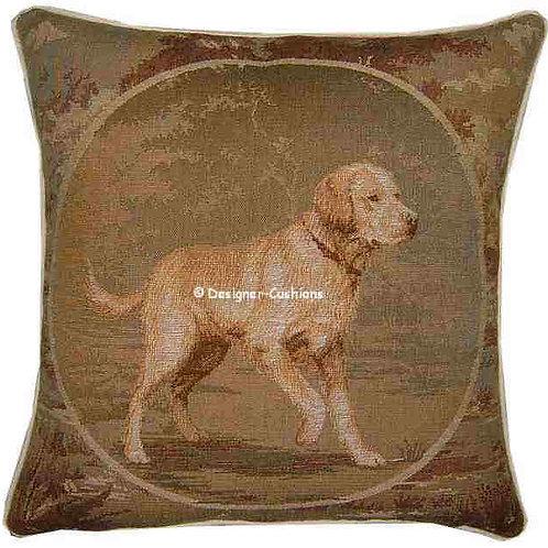 Framed Golden Retriever Tapestry Cushion Cover