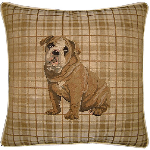 British Bulldog Light Check Tapestry Cushion Cover