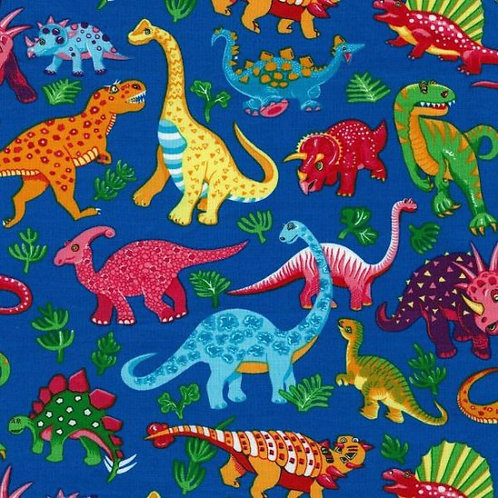 Nutex Novelty Dinosaur Dance Blue Background Quilt Fabric