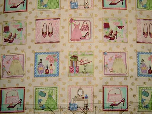 Makower Boutique Card Making Square Label Quilt Fabric