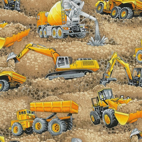 Nutex Novelty Trucks & Diggers Scenic Beige Large Quilt Fabric 80110 Col 1