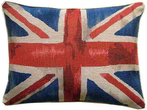 Union Jack Royal Blue Design #3 Flag Tapestry Oblong Cushion Cover