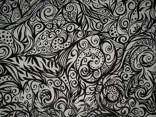 Camelot Tattoo Black & White Col 9 Quilt Fabric