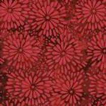 Island Batiks IKF13E-B1 Red Flowers Quilt Fabric