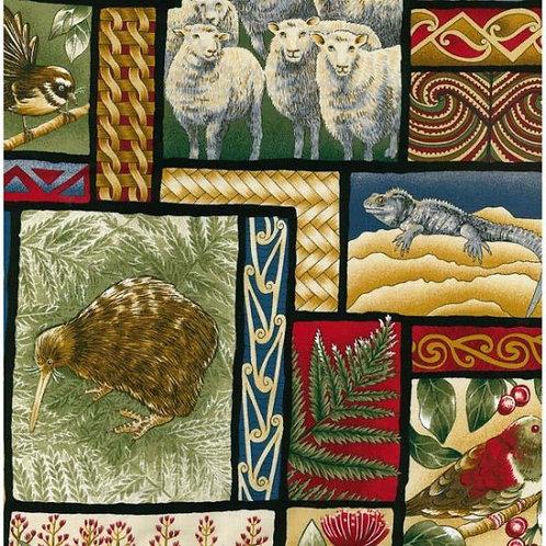 Nutex Kiwiana Truly New Zealand Allover Quilt Fabric