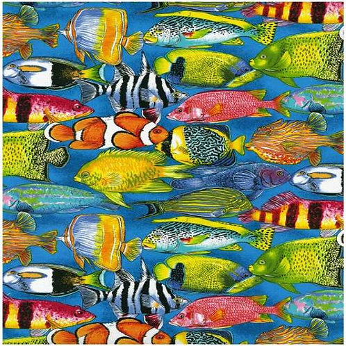Nutex Australiana Life on the Reef Fish Bright Novelty Quilt Fabric