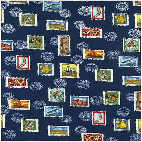 Nutex Stamps of Australia Novelty Quilt Fabric