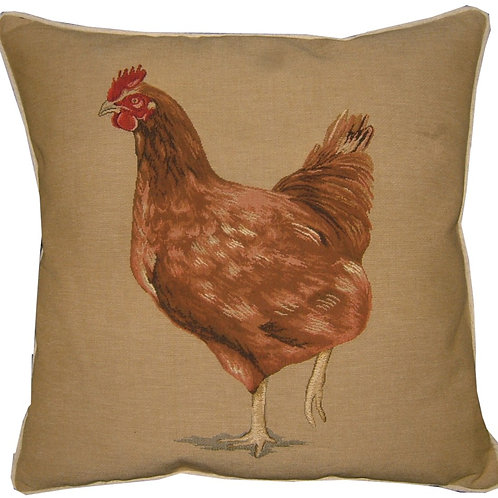 Brown Hen Tapestry Cushion Cover