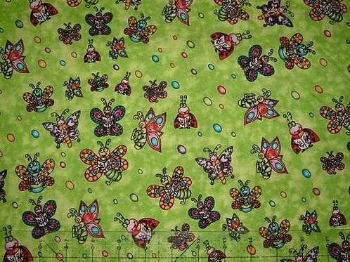 Camelot Dancing Bugs Novelty Quilt Fabric Col 3