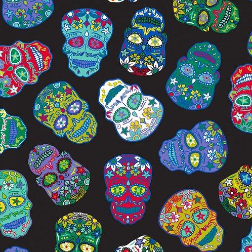 Nutex Novelty Sugar Skulls Black 80220 Col1 Quilt Fabric