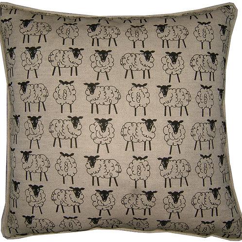 Sheep in a Row Linen Cushion Cover
