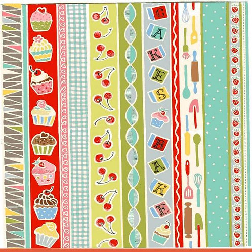 Makower Retro Baked Border Stripe Quilt Fabric
