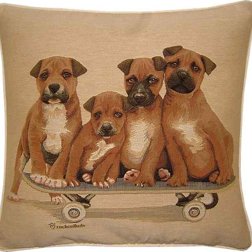 Staffordshire Bull Terriers Staffi on Skateboard Tapestry Cushion Cover