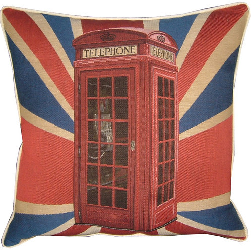 Union Jack Telephone Box Tapestry Cushion Cover