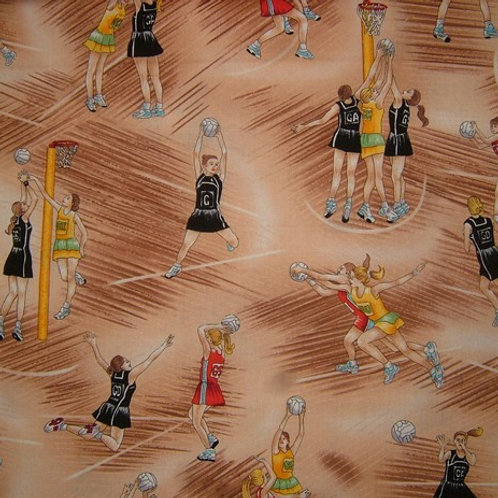Nutex Novelty Court Time Netball Players Allover Quilt Fabric