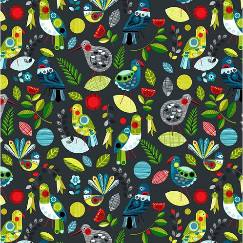 Nutex Novelty Forest Song Flock Quilt Fabric 89590 Col5