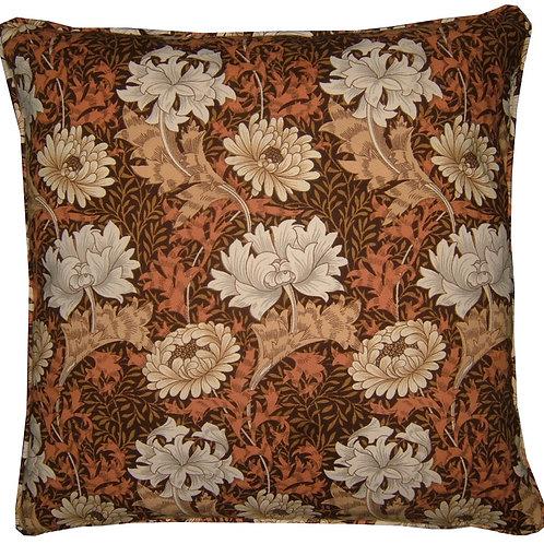 William Morris Chrysanthemum Minor Brown Cushion Cover