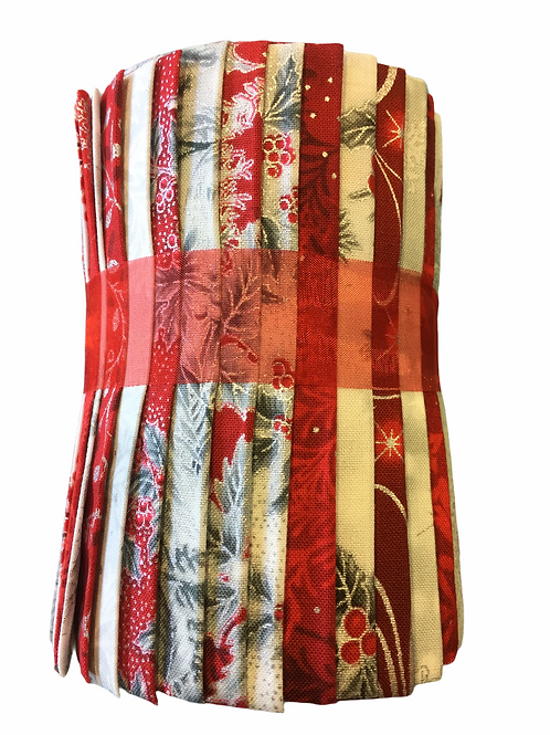 """Christmas Red, White & Silver Designer Roll - 20 x 5"""" x WOF"""