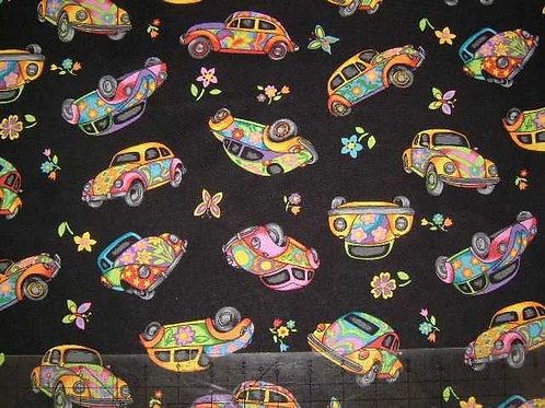 Nutex Novelty Herbie Multicoloured VW Beetles Hippy Quilt Fabric