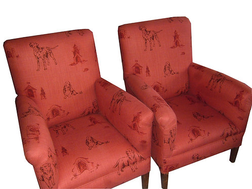 "Restored ""Queen Chairs"" Upholstered in Mulberry Kennel Club Linen"