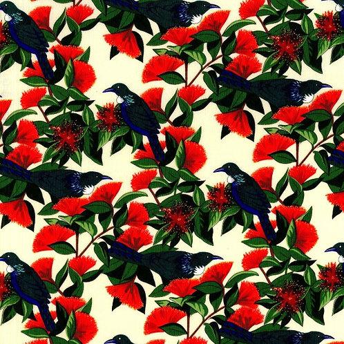 Nutex Kiwiana Tui & Pohutakawa Cream Quilt Fabric 86040 Col1