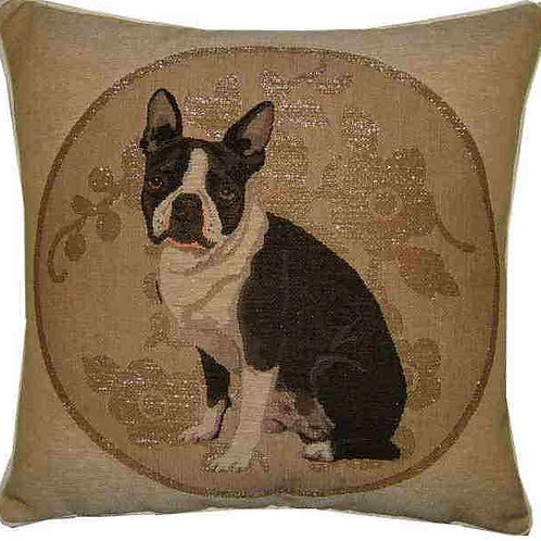 Boston Terrier Silver Circle Tapestry Cushion Cover