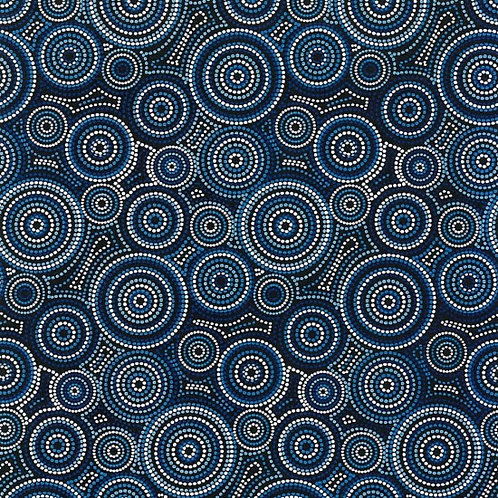 Nutex Australiana Urite Circles Blue 11690 Col 2 Quilt Fabric