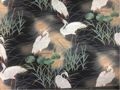"Hoffman ""Izumi"" Cranes on Charcoal J7305 Quilt Fabric"