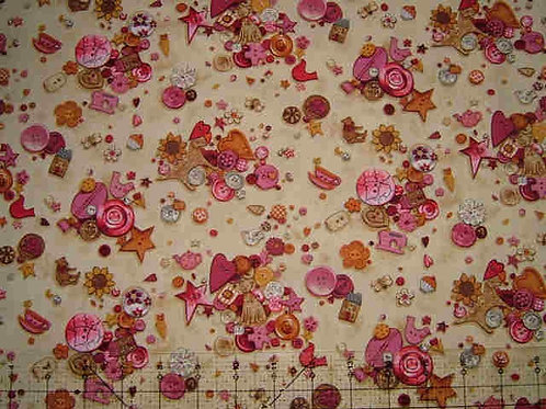 Makower Stash Pink Buttons Sewing Novelty Quilt Fabric