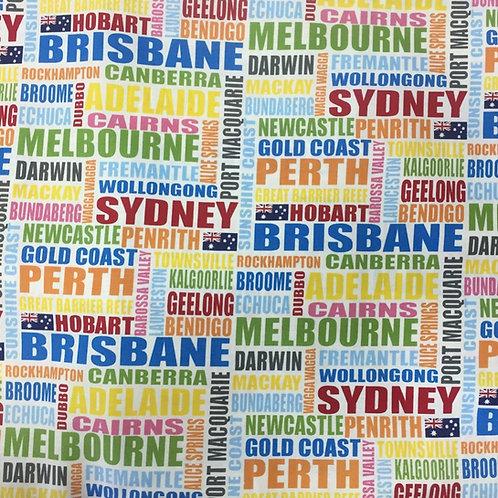Nutex Australiana Cities of Australia Quilt Fabric