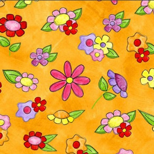 Tara's Brights Orange Flowers Quilt Fabric