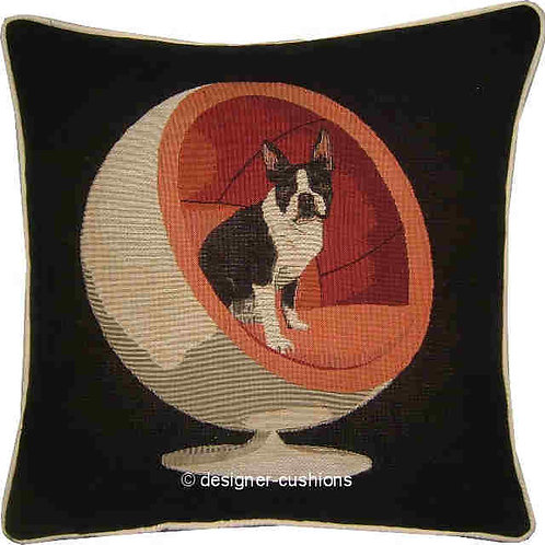 Boston Terrier Red Retro Chair Tapestry Cushion Cover